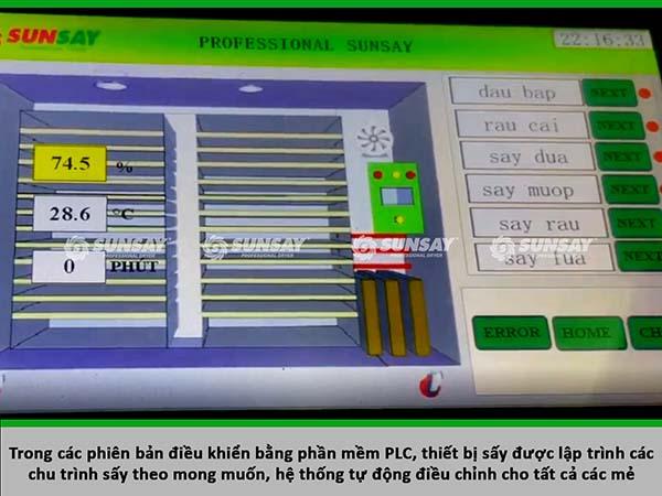 Có thể cài đặt chương trình sấy tự động bằng máy sấy lạnh 30 khay