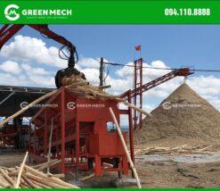 Máy bóc vỏ keo 1 trục nhà máy băm băm dăm gỗ
