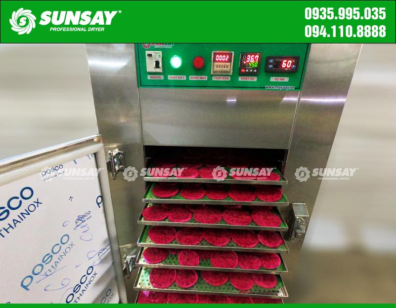 Tiến hành sấy thanh long bằng máy sấy lạnh SUNSAY